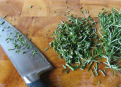 What to do to reduce clutter formed during chopping herbs.